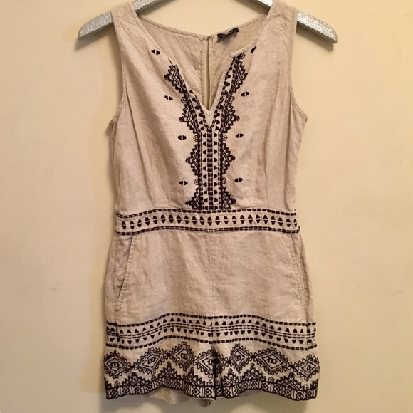 bd40d46318a4 LOFT Pants - LOFT Linen Embroidered Romper